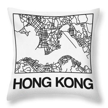 White Map Of Hong Kong Throw Pillow
