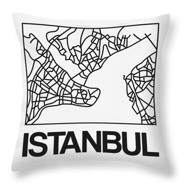 White Map Of Istanbul Throw Pillow