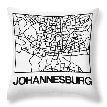 White Map Of Johannesburg Throw Pillow
