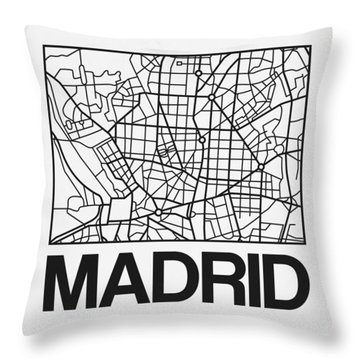 White Map Of Madrid Throw Pillow