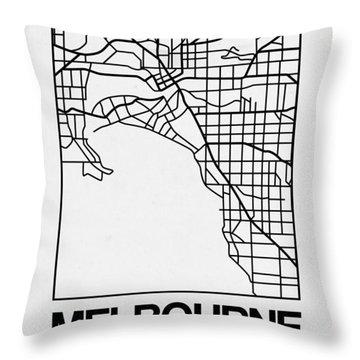White Map Of Melbourne Throw Pillow
