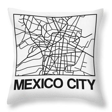 White Map Of Mexico City Throw Pillow