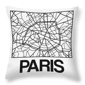 White Map Of Paris Throw Pillow