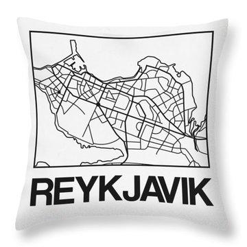 White Map Of Reykjavik Throw Pillow