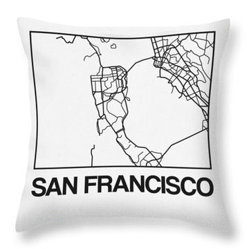 White Map Of San Francisco Throw Pillow