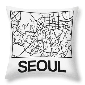 White Map Of Sao Paulo Throw Pillow
