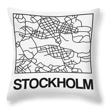 White Map Of Stockholm Throw Pillow