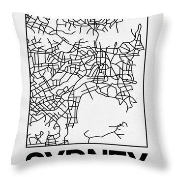 White Map Of Sydney Throw Pillow