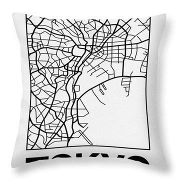 White Map Of Tokyo Throw Pillow