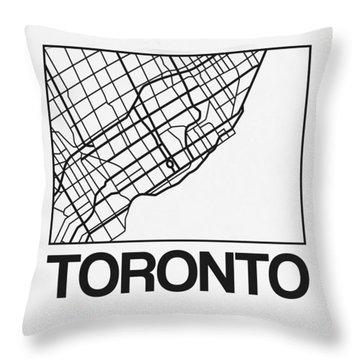 White Map Of Toronto Throw Pillow