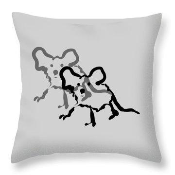 White Mice Pillow Throw Pillow