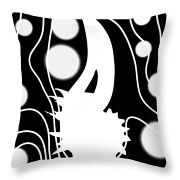 White On Black Lost Tail Throw Pillow