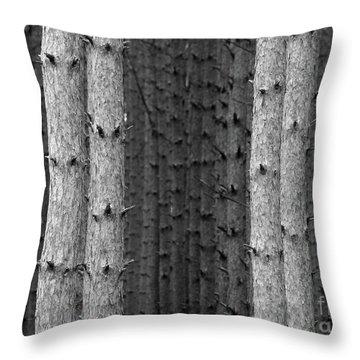 White Pines Black And White Throw Pillow