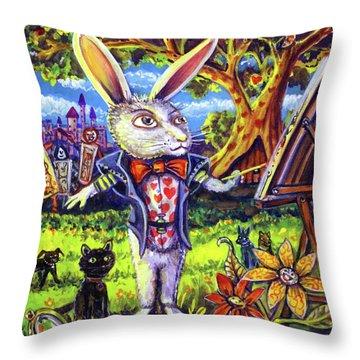 White Rabbit Alice In Wonderland Throw Pillow