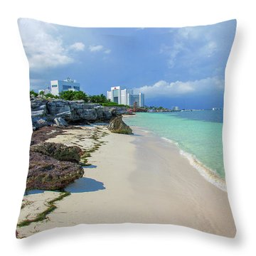 White Sandy Beach Of Cancun Throw Pillow