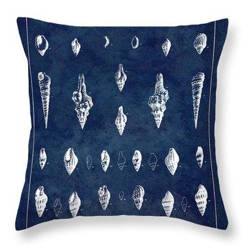 White Shells On Blue Throw Pillow