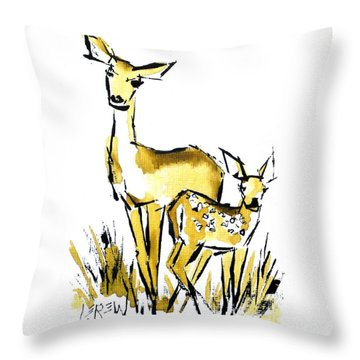 White Tail Doe And Fawn Deer Throw Pillow