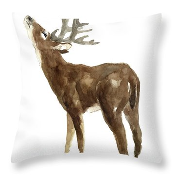 White Tailed Deer Stag With Head Tilted Upwards Throw Pillow