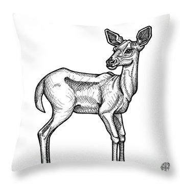 White Tailed Doe Throw Pillow