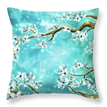 Tranquility Blossoms - Winter White And Blue Throw Pillow