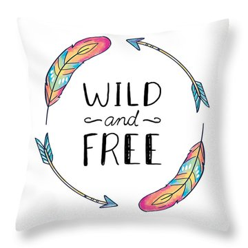 Wild And Free Colorful Feathers - Boho Chic Ethnic Nursery Art Poster Print Throw Pillow