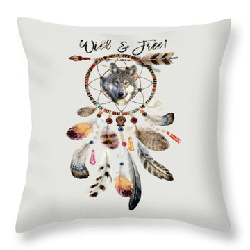 Throw Pillow featuring the mixed media Wild And Free Wolf Spirit Dreamcatcher by Georgeta Blanaru
