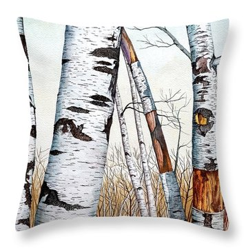 Wild Birch Trees In The Forest In Watercolor Throw Pillow