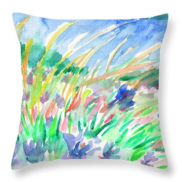Throw Pillow featuring the painting Wild Herbs by Dobrotsvet Art