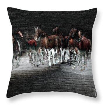 Wild Horses Under Spotlight Throw Pillow