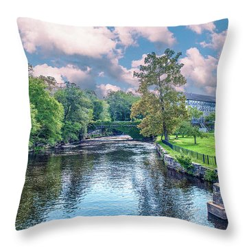Willimantic River With Clouds Throw Pillow