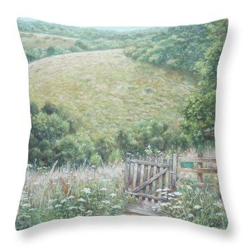 Winchester Hill Area In Hampshire During Summer Throw Pillow