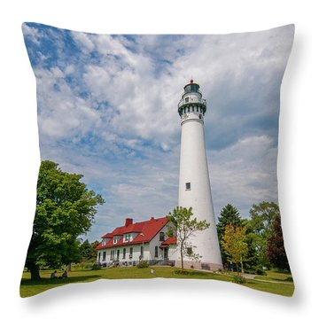 Wind Point Lighthouse No 3 Throw Pillow