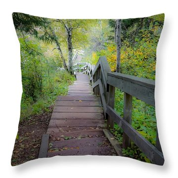 Winding Stairs In Autumn Throw Pillow