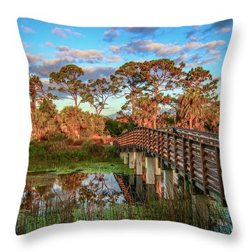 Throw Pillow featuring the photograph Winding Waters Boardwalk by Tom Claud