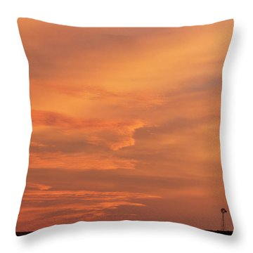 Throw Pillow featuring the photograph Windmill And Afterglow 02 by Rob Graham