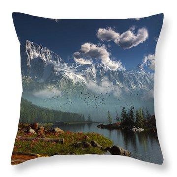 Window Through The Mist Throw Pillow
