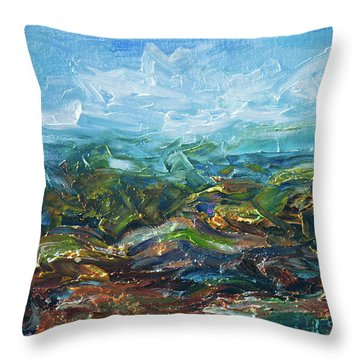 Throw Pillow featuring the painting Windy Day In The Grassland. Original Oil Painting Impressionist Landscape. by OLena Art Brand