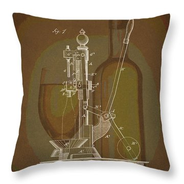 Throw Pillow featuring the drawing Wine Bottle Corking Patent by Dan Sproul