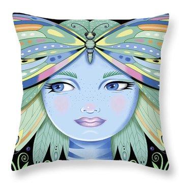 Insect Girl, Winga - Black Throw Pillow