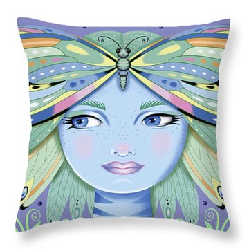 Insect Girl, Winga - Purple Throw Pillow