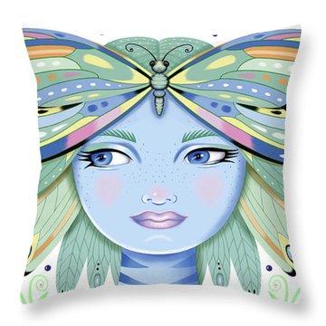 Insect Girl, Winga - White Throw Pillow