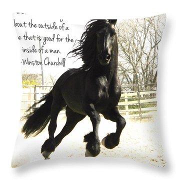 Winston Churchill Horse Quote Throw Pillow