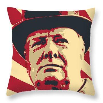 Winston Churchill Propaganda Pop Art Throw Pillow