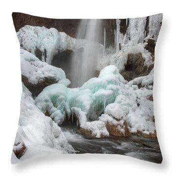 Winter At Rifle Falls Colorado Throw Pillow