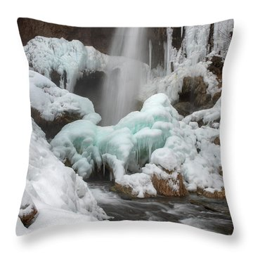 Winter At Rifle Falls Colorado Throw Pillow