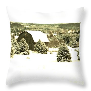 Throw Pillow featuring the photograph Winter Barn by SimplyCMB