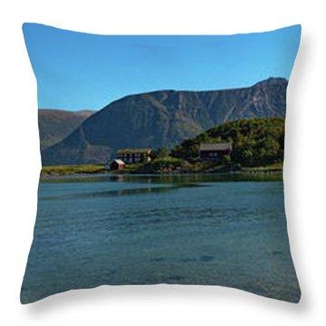 Winter Beach In Norway Throw Pillow