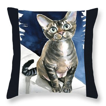 Winter Devon Rex Cat Painting Throw Pillow