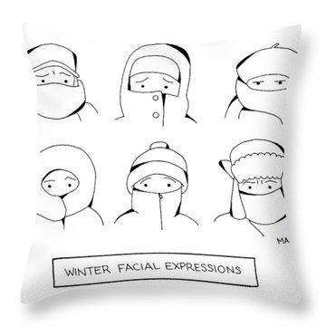 Winter Facial Expressions Throw Pillow