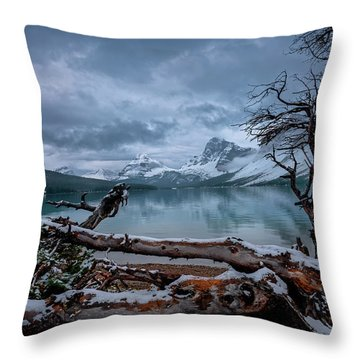 Winter Is Coming Bow Lake Throw Pillow